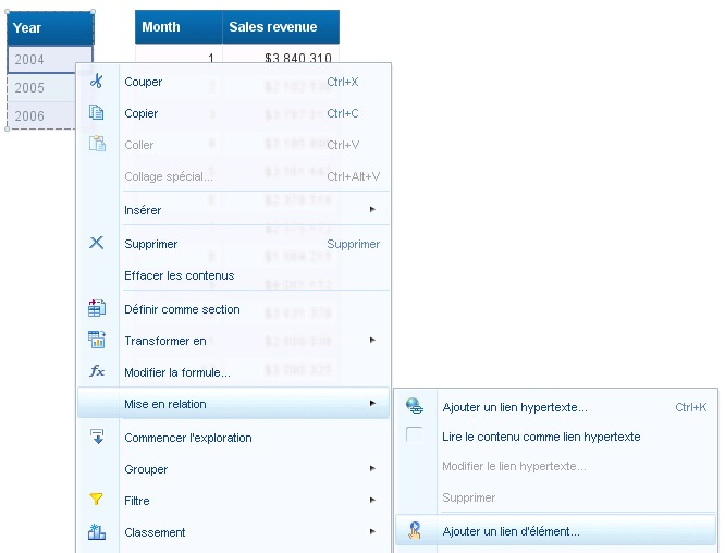 SAP BusinessObjects Webi - Lien élément 4