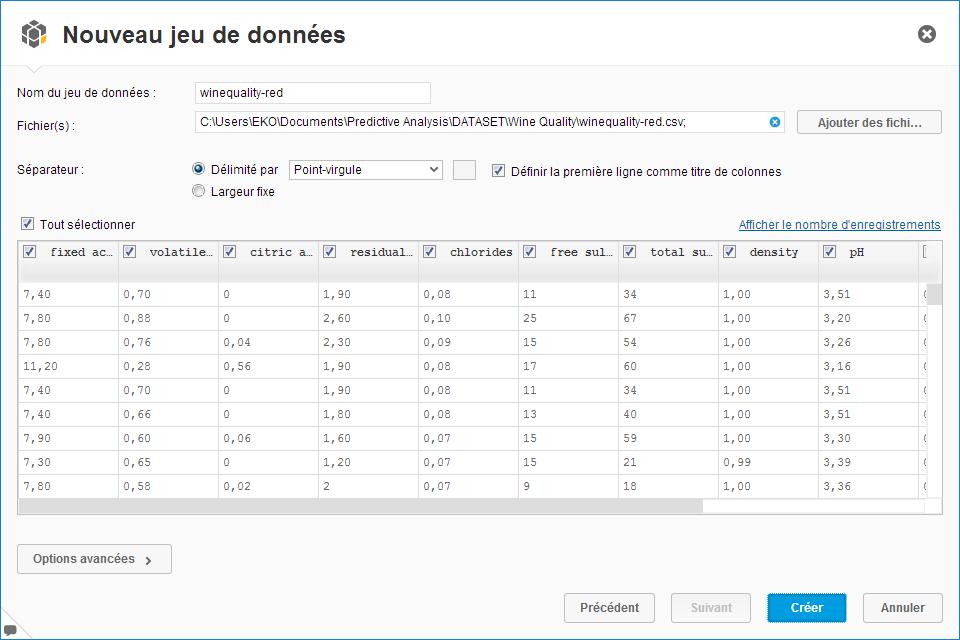 SAP Predictive Analysis - Intégrer un fichier CSV 4